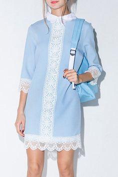 Half Sleeve Lace Patchwork Dress