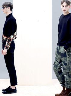 Alternate combats or black trousers showing the ankles can both be great eye catching looks.