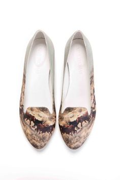 $210 Limited Edition Slipper with Wild Horses Print & Matching Tee via Etsy