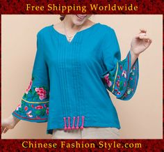 100% Handmade Linen Cotton Blouse Shirt Top - Oriental Chinese Embroidery Art #120 http://www.chinesefashionstyle.com/jackets-blouses/