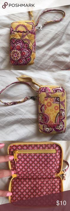 Vera Bradley wallet Yellow print Vera Bradley wallet with wrist handle Bags Clutches & Wristlets
