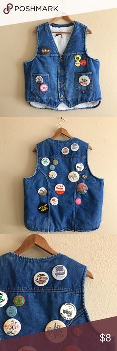 '80s / Button Bonanza Vest Awesome shearling denim vest loaded up with vintage button pins.  BRAND: Wrangler MATERIAL: cotton/poly YEAR/ERA: 80s LABEL SIZE: XL BEST FIT: L  MEASUREMENTS (laid flat): Chest 23 inches Length 25 inches  ☒ I do not model or trade, sorry! ❁ Check out my closet for more vintage!  {lapel, hat pin, badge, button, pinback} Wrangler Jackets & Coats Vests