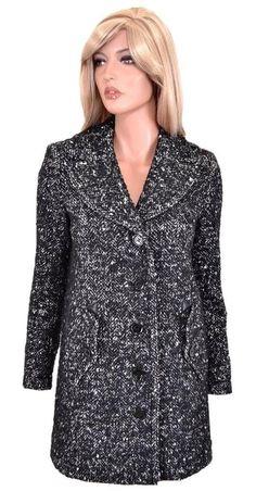 New Burberry Brit $1,295 Black Wool & Leather Boucle Tweed Coat Jacket 10 44…