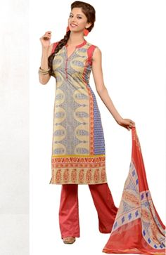Cotton Straight Cut Palazzo Salwar Suit, namaste fashion
