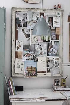 inspiration board, you can use a old window or corkboard. I also like the hanging lamp over work area