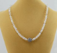 Clear Crystal Necklace with Sparkle Focal.  by BlingbyDonna