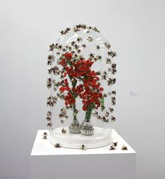 sculptures from safety pins and glass beads by Shige Fujishiro