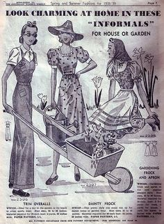 For house or garden, look charming in these informals (1938-39).
