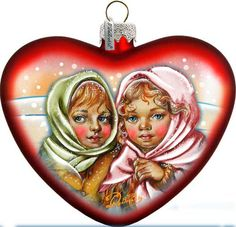 Sister Friendship Gift - Heart Christmas Ornament - Hand-painted Old World Decore - Vintage Holiday Ornament Free Personalized  (753-002) by GDeBrekhtGallery on Etsy