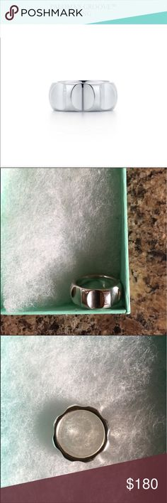 Paloma's Groove Ring Very cool looking Ring. Sterling Silver. Wide Band version of the Groove Ring. EUC. Normal wear. 9mm Wide. Dust bag and box included. Size is 7. Tiffany & Co. Jewelry Rings