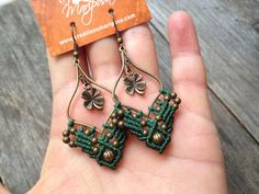 Micro macrame earrings irish green lucky par creationsmariposa, $22.00