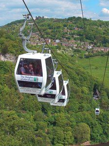 The Olympic torch is to be taken on a cable car ride over Matlock Bath during the Derbyshire leg of its nationwide relay in the build-up to London 2012. A torchbearer will carry the flame on to the famous sky-ride at the Heights of Abraham on 29 June. The procession will arrive in Glapwell in the morning before heading to Bolsover, Calow and Chesterfield. The flame will then continue through Matlock, Darley Dale, Bakewell, Buxton and Ashbourne before arriving in Derby.