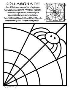 20 original tiles to decorate - then collaborate - for a rad radial artwork! Halloween, spider webs, spiders, symmetry, art and classroom sub lessons. Theme Halloween, Halloween Activities, Halloween Spider, Halloween Decorations, Ivan Cruz, Kindergarten Art, Preschool, Art Worksheets, Ecole Art