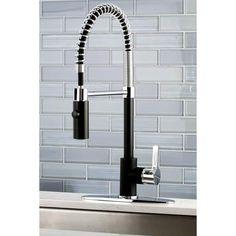 Black & Chrome Modern Spiral Pulldown Kitchen Faucet - Home and Garden Decoration Best Kitchen Faucets, Best Faucet, Kitchen And Bath, New Kitchen, Kitchen Ideas, Kitchen Reno, Kitchen Remodeling, Kitchen Layout, Kitchen Dinning