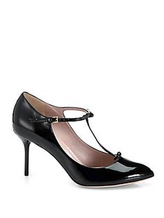 Gucci Patent Leather T-Strap Mary Jane Pumps