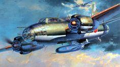 Mitsubishi G4M2e 'Betty' + Yokosuka MXY7 Ohka Flying Bomb, by Shigeo Koike