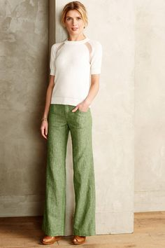 Pilcro Herringbone Linen Trousers in Green (Anthropologie)