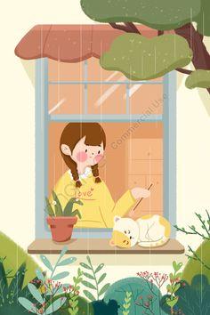 Joey Chou, Rain Illustration, Cat Window, Little Doodles, Cartoon Art, Rain Cartoon, Cute Wallpapers, Cute Art, Art For Kids