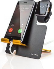 A catch-all docking station made to hold your phone and Apple watch as they charge. It can also hold a wallet, keys, glasses, jewelry and more. It's made from Cherry wood and can be personalized with a name or initials. Related PostsFloveme Ultra Slim Cover for iPad ProSmartThings Home Monitoring Kit by SamsungSensoria – Smart Socks to Track Your RunningPowerUp 3.0