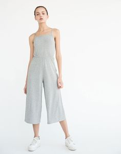 Ribbed halter top jumpsuit - Jumpsuits - Bershka Finland