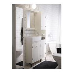 IKEA - SILVERÅN / LILLÅNGEN, Armario lavabo 2prtas, , Al ser estrecho, este armario para lavabo es perfecto para baños pequeños.Patas regulables para mayor estabilidad y protección contra la humedad.