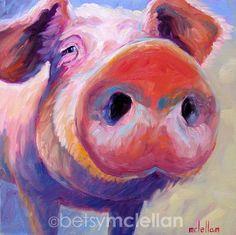 Pig - Pig Art - Pig Print - Giclee Print by betsymclellanstudio on Etsy https://www.etsy.com/listing/130616850/pig-pig-art-pig-print-giclee-print