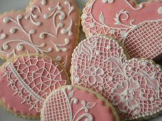 Lace Heart Cookies~                                            By Mariana Meirelles, pink, white lace
