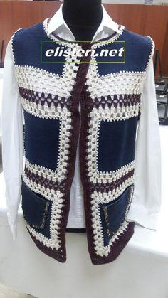 Eski Kot Pantolondan Yelek Nasıl Yapılır. – El İşlerimiz Crochet Jacket, Crochet Cardigan, Knit Crochet, Sewing Clothes, Crochet Clothes, Diy Clothes, African Shirts For Men, Crochet Summer Dresses, Denim Ideas