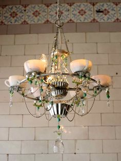 upcycled kitchen items to chandelier