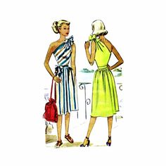 1940s One Shoulder Sun Dress McCall 6816 Vintage Sewing Pattern