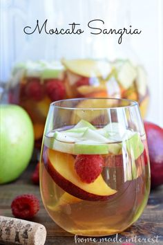 This light Moscato Sangria is at the top of my summer drinks list! Made with fresh summer fruit and lightly sweet moscato wine. Easy Drink Recipes, Sangria Recipes, Wine Recipes, Roast Recipes, Cocktail Recipes, Wine Drinks, Cocktail Drinks, Alcoholic Drinks, Beverages