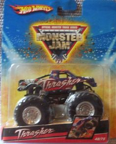 2009 Hot Wheels Monster Jam #48/75 THRASHER 1:64 Scale Collectible Truck by Mattel. $7.94. 2009 Production Year. Official Monster Jam Truck. Mega Monster Tires. Die-Cast. 1:64 Scale. Crush the Competition with this 1:64 scale Hot Wheels truck! Die cast body and chassis mega monster tires & 4-wheel turning action. Let the dirt fly with these ground-poundin Hot Wheels Monster Trucks. Rev up for total domination and destruction on the Monster Jam circuit. It's uns...