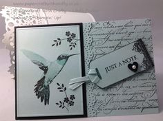 handmade greeting card from Papercraft With Crafty ... pale blue with black ink and mats ... three step stamped humming bird ... Stampin' Up!