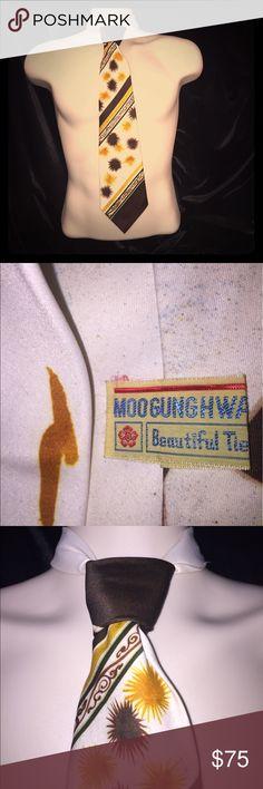 Vintage Men's Tie  👔 Vintage men's necktie unique Moo Gung Hwa Beautiful Tie Vintage Accessories Ties