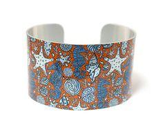 Cuff bracelet, underwater ocean with sea horses, wide aluminium bangle - C156 £19.50