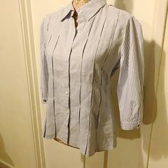 A light blue linen bodice with pleated detailing and striped sleeves. Two separate, plain shirts made into one interesting piece! Can be dressed up for dinner or even a day in the office - it's totally up to you! Batwing Top, Dress Up, Shirt Dress, Plain Shirts, Bodice, Fashion Beauty, Light Blue, My Style, Separate