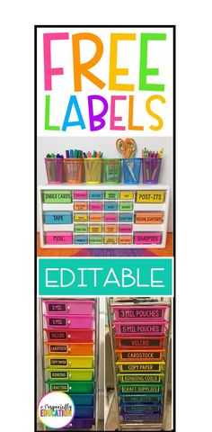 Classroom Organization - Get over 50 FREE classroom labels with editable blank templates included! Perfect for organizing and labeling your classroom! Use during back to school or anytime you want to get organized! New Classroom, Special Education Classroom, Elementary Education, Classroom Labels Free, Kindergarten Classroom Setup, Infant Classroom, Classroom Hacks, Education Jobs, Classroom Freebies