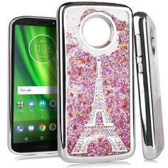 f1f6204b6 Mundaze Paris Eiffel Tower Pink Motion Glitter Chrome Case For Motorola Moto  E5 Phone