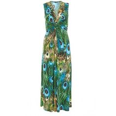 Green and Blue Peacock Maxi Dress from Quiz Clothing