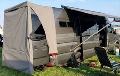 Van Conversion Awning, Van Conversion Interior, Sprinter Van Conversion, Van Interior, Cargo Trailer Camper, Sprinter Camper, Sportsmobile Van, Diy Awning, Minivan Camping