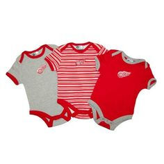 Detroit Red Wings Baby 3-pc Solid & Stripes Creeper Set Size 3-6 Months by Mighty Mac. $30.00. The perfect baby gift for the tiniest hockey fan in the family! This 3-pc Creeper Set by Mighty Mac features: - 100% combed cotton team color and alternate color creepers with screen printed graphics - Striped creeper has embroidered team logo on center front - Snap closures at bottom - Set includes 1 primary team color, 1 alternate team color & 1 team color striped unit ...