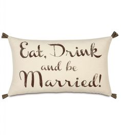 """Keep the celebration going long after you've said """"I do"""". With so many ways to personalize, the Wedding collection makes the perfect keepsake for the newly minted Mister and Misses or a wonderfully romantic way to celebrate years of wedded bliss. This item makes for a great wedding or anniversary gift.Pillow features:Dimensions- 13 x 22Block printedSelf backedRibbon loops on cornersKnife edge finishingZipper closureDown pillow insertMade in the USADue to the handcrafted nature of this item…"""