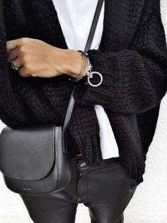 Black knit + leather