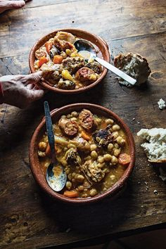 Cozido de Grão (Chickpea Stew with Lamb, Pork, and Veal) by Saveur. Chickpeas are bolstered with spicy sausage and three kinds of meat in this filling stew served at País das Uvas in Vila de Frades, Portugal. Chickpea Stew, Chickpea Recipes, Lamb Recipes, Meat Recipes, Cooking Recipes, Slow Cooking, Cooking Ideas, Food Ideas, Vegetarian Thanksgiving