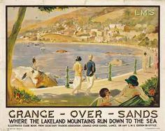 Grange-Over-Sands, where the lakeland mountains run down to the sea - LMS - (Raphael T. Posters Uk, Train Posters, Railway Posters, Art Deco Posters, Poster Prints, British Travel, Nostalgia, Seaside Resort, Travel Scrapbook