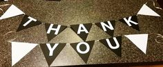 """Black & White """"thank you"""" Banner by IttyBittyBoutik on Etsy"""