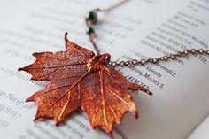 Small Fallen Copper Maple Leaf Necklace. $24.95, via Etsy.
