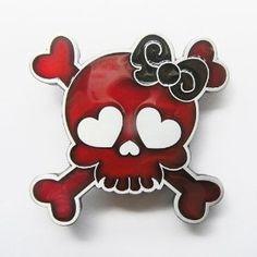 Punk Rock Emo Tattoo Skull Girl Belt Buckle