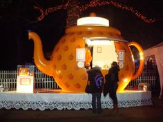 Giant teapot housed Pimm's Winter Warmers at Hyde Park's Winter Wonderland. - London