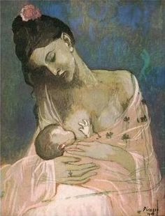 Breastfeeding woman by Picasso >> love this! i have a cool sketch of a woman breastfeeding by picasso in my downstairs loo ... lol